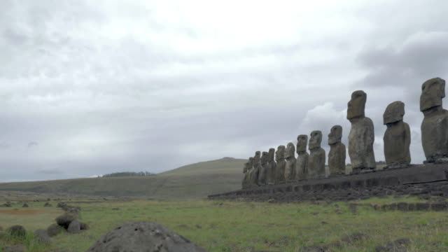 panning left to right shot of the ahu tongariki moais - maui stock videos & royalty-free footage