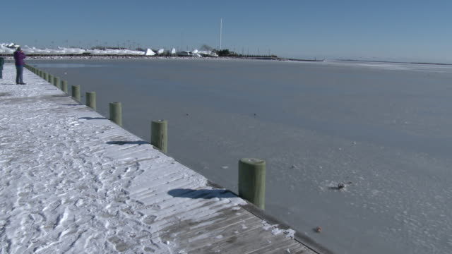 Waters off the south shore of Long Island freeze in bitter cold temperatures during an arctic outbreak