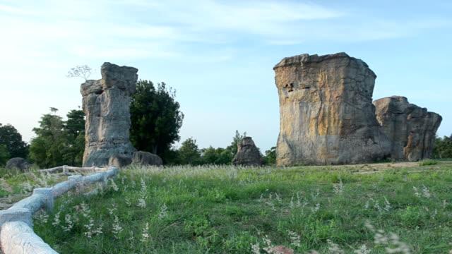 パン: タイの mo ヒン カオ チャイヤプームの石 henge の小さな花園 - 石柱点の映像素材/bロール