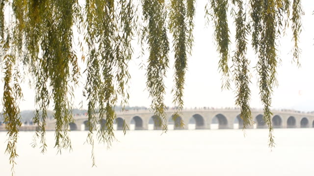 panning: long 17-arch bridge under air pollution - arch bridge stock videos and b-roll footage