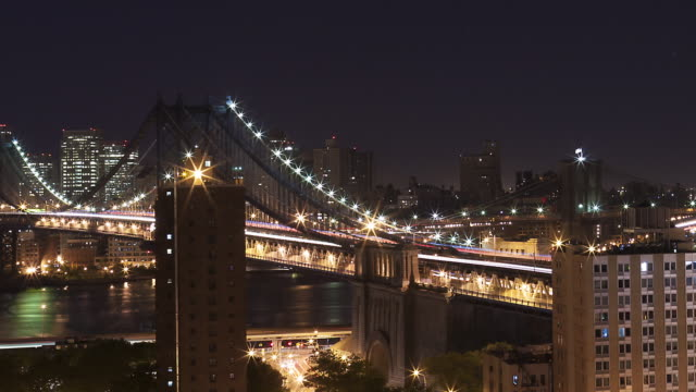 vídeos de stock e filmes b-roll de panning new york city time laps of lower manhattan looking south at three bridges, manhattan, brooklyn and verrazano. total of three days and two nights. - dia