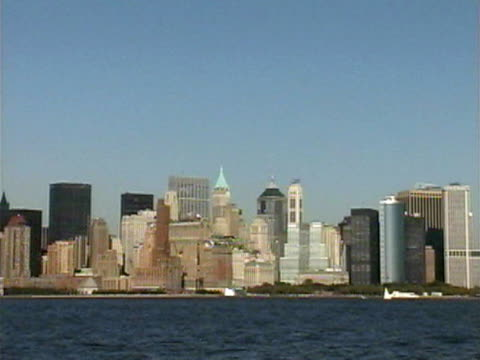 panning new york skyline, world trade center - 2001 stock videos and b-roll footage