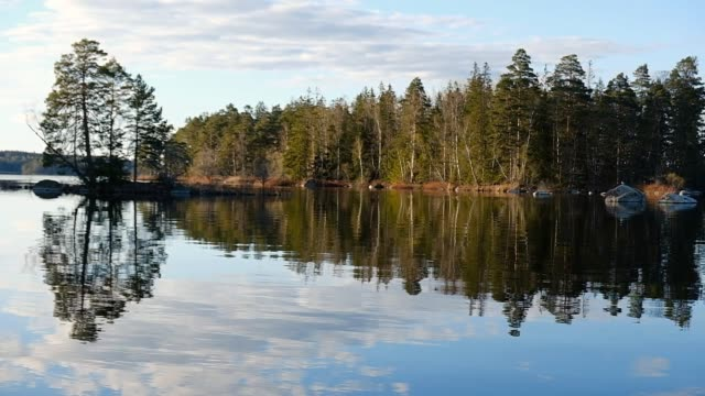 panning of a view with a calm lake with islands in evening light - woodland stock videos & royalty-free footage