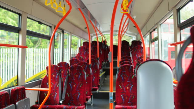 panning of an empty bus - seat stock videos & royalty-free footage