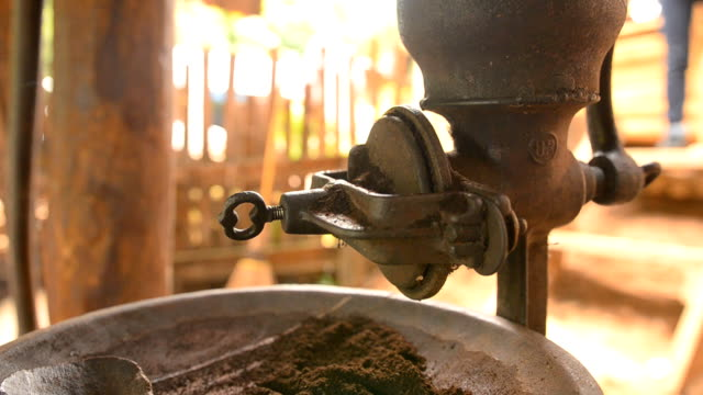 panning: old and rusty coffee grinder - imperfection stock videos & royalty-free footage