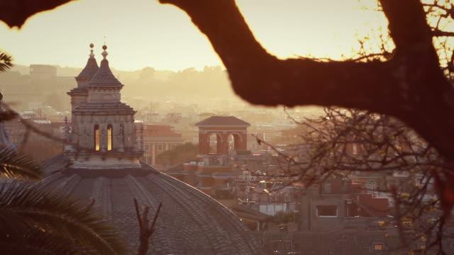 Panoramica su Roma al tramonto, dalla Gianicolo hill