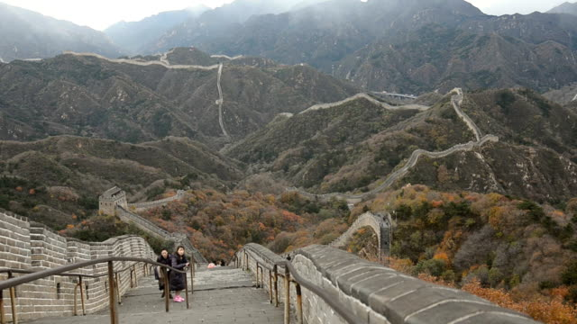 panning: on top of badaling great wall of china belong to autumn tree - badaling stock videos and b-roll footage