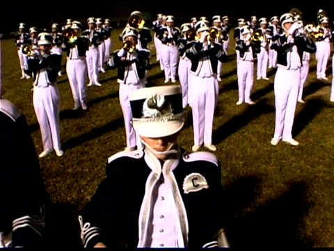 panning over drummers in marching band - marching band stock videos & royalty-free footage