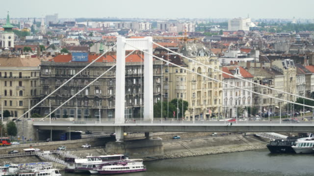 panning: part of elisabeth bridge with cityscape of budapest at day from the castle hill - suspension bridge stock videos & royalty-free footage