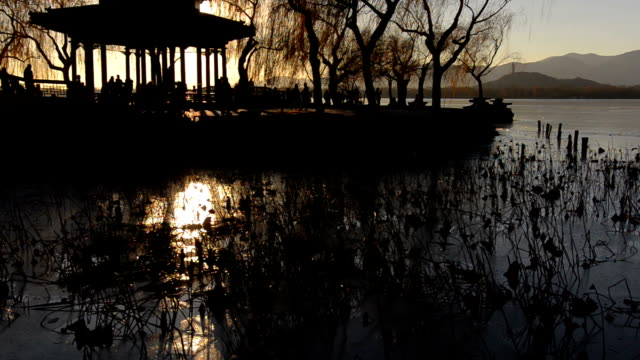 panning: Pavilion of Bejing Summer Palace under sunset