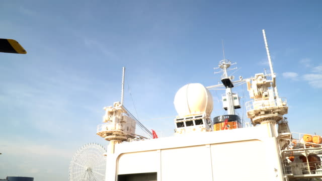 panning: radar yach on a old ice-breaker - radar stock videos & royalty-free footage