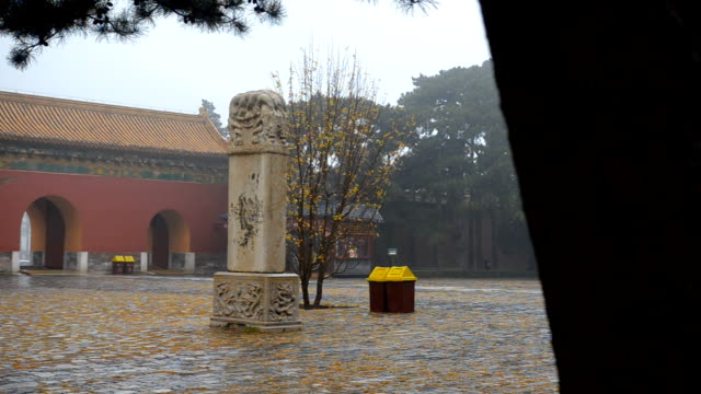 panning: red entrance of tombs from the ming dynasty - ming tombs stock videos and b-roll footage