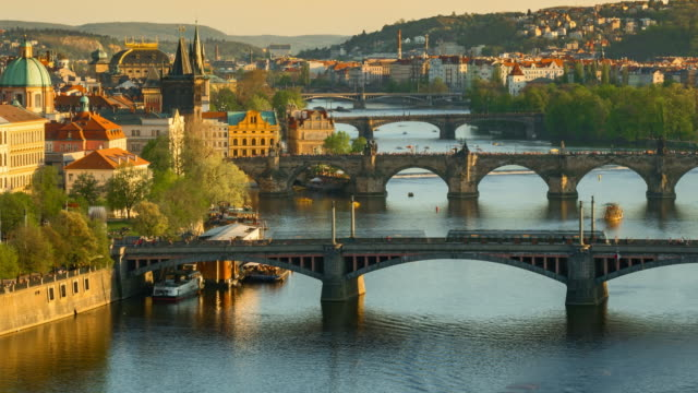 Panning Shoot Time-lapse: Aerial Bridges on Vltava River, Prague Czech Republic