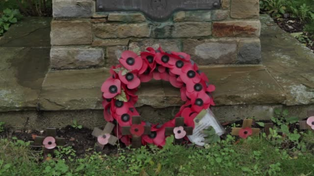 panning shot. a memorial known as bell's redoubt marks the spot where donald bell was killed in world war one. bell was the first professional... - remembrance day stock videos & royalty-free footage