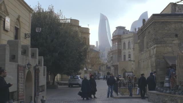 Panning shot across a street in the city of Baku.