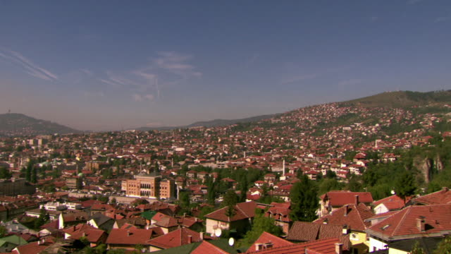 Panning shot across the city of Sarajevo.