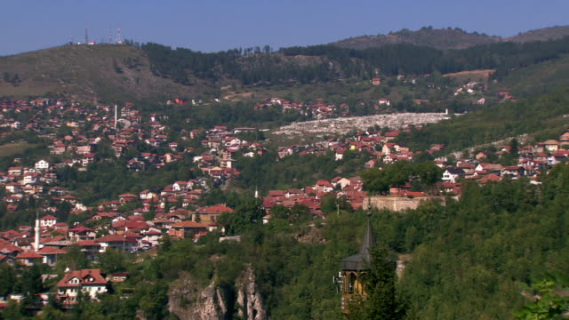 panning shot across the city of sarajevo. - bosnia and hercegovina stock videos & royalty-free footage