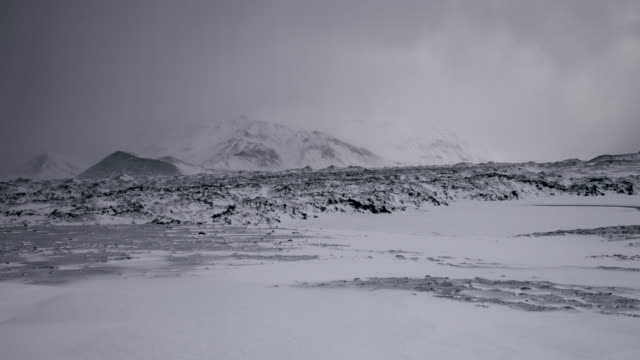 panning shot across the deserted and snow covered landscape of the snaefellsnes peninsula. - peninsula stock videos & royalty-free footage
