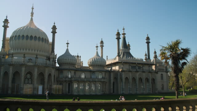 panning shot across the exterior of brighton's royal pavilion. - dome stock videos & royalty-free footage
