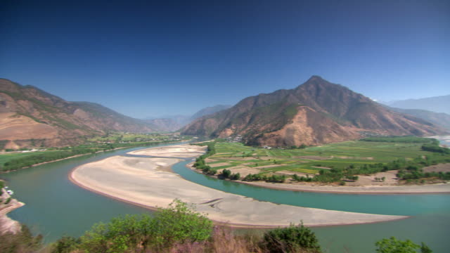 Panning shot across the Yangtze River as it flows through the Yunnan province of China.