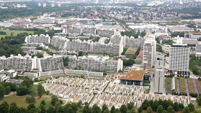 panning shot: aerial landscape of Munich, Germany