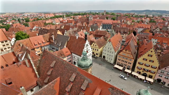 panning shot: aerial pedestrian crowded rothenburg ob der tauber bavaria, germany - rothenburg stock videos and b-roll footage
