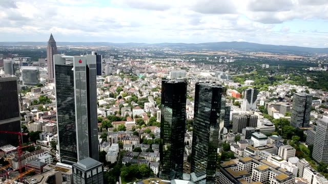 panning shot: aerial view of frankfurt cityscape - frankfurt main stock videos and b-roll footage