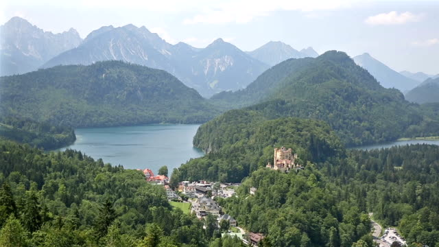 panning shot: aerial view of schwangau fussen bavaria, germany - bavaria stock videos & royalty-free footage