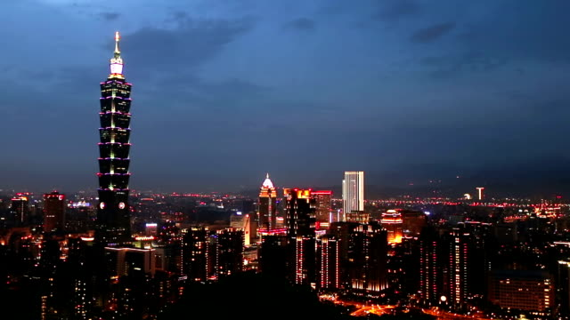 Panning shot: Aerial view of Taipei Cityscape Taiwan