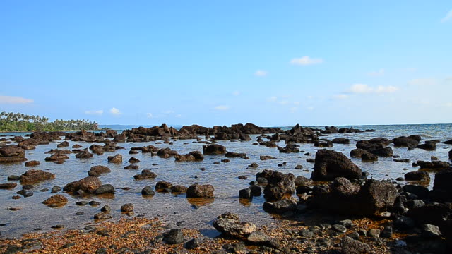 panning shot: beach and rocks on the island - full hd format stock videos & royalty-free footage