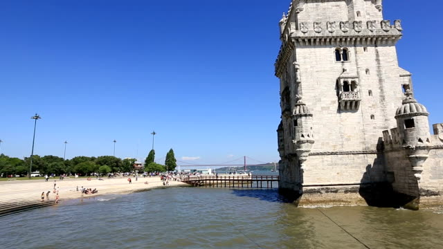 HD Panning shot: Belem Tower at Lisbon Portugal