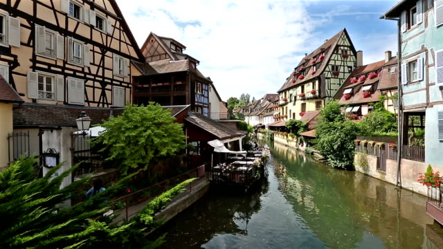 panning shot: Colmar Village Cityscape Alsace France in Summer