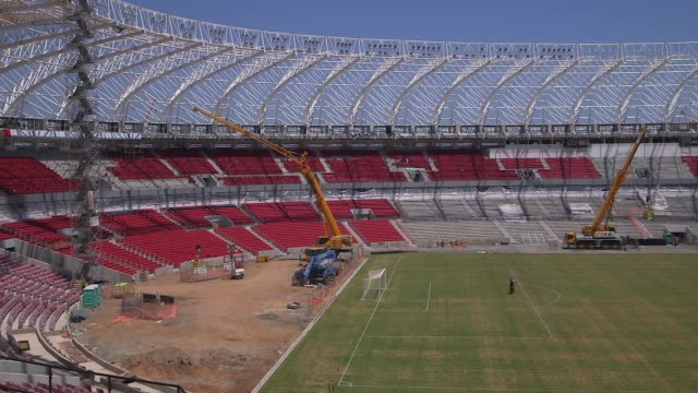 panning shot construction at estadio beirario in porto alegre continues home to the sport club internacional one of brazil's biggest clubs the... - alegre stock videos & royalty-free footage