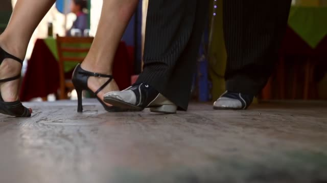 Panning Shot Dancers perform a Tango at La Boca on September 11 2013 in Buenos Aires Argentina