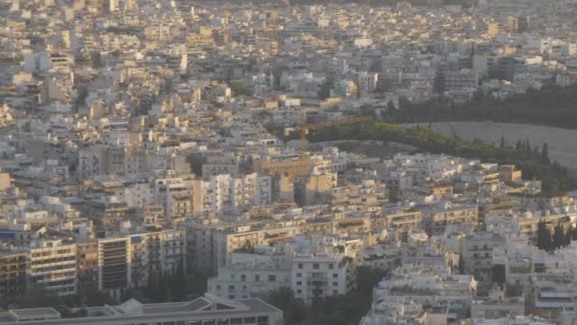 panning shot from summit of mount lycabettus of panathenian stadium, athens, greece, europe - 6th century bc stock videos and b-roll footage