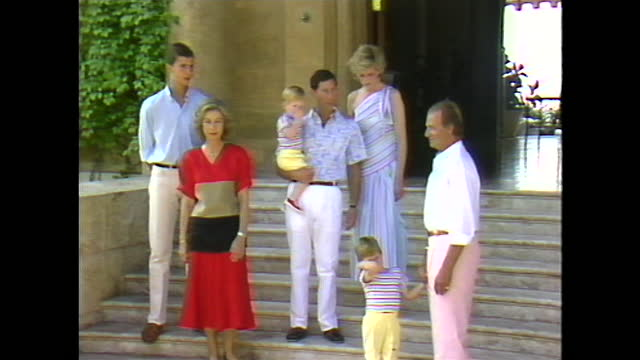 panning shot from the line of press cameras to the uk and spainish royals includng prince charles, princess diana, prince william, prince harry and... - panning stock videos & royalty-free footage