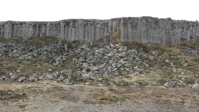panning shot: gerduberg basalt columns cliffs  in iceland - basalt stock videos & royalty-free footage