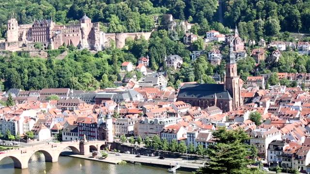 vídeos de stock e filmes b-roll de panning shot: heidelberg cityscape at summer, germany - hd format