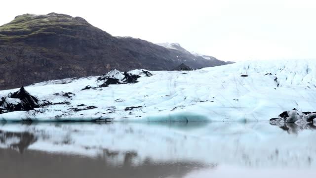 Panning shot Landscape of Solheimajokull Glacier lagoon Iceland