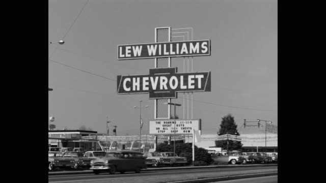 panning shot lew williams chevrolet car dealership, eugene, oregon, usa - car showroom stock videos & royalty-free footage