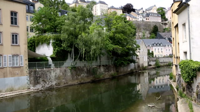 Panning shot: Luxembourg city Grund old town Cityscape