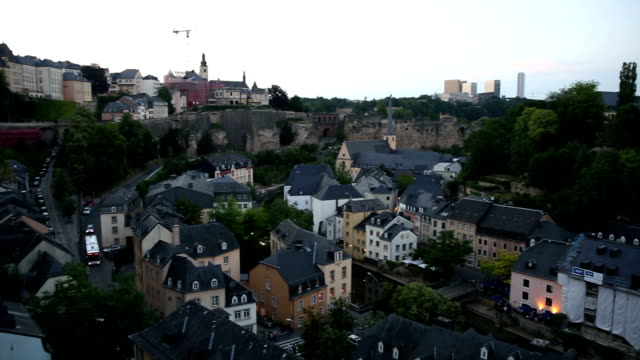 Panning shot: Luxembourg city old town Cityscape at dusk