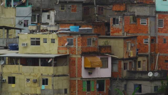 Panning shot of a congested favela in Rio de Janeiro, Brazil