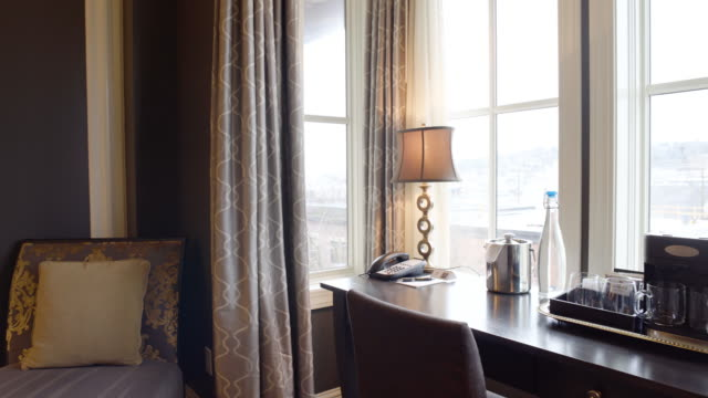 Panning shot of a hotel bedroom during daytime