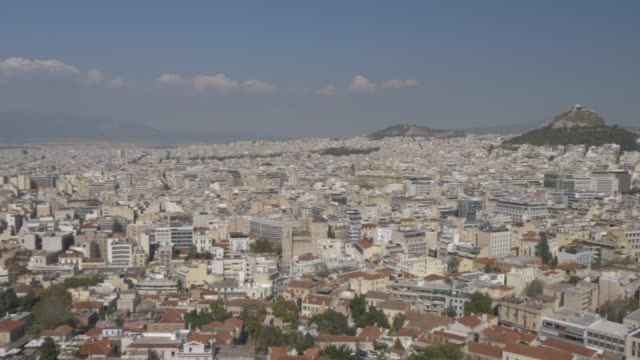 Panning shot of Athens from the Acropolis, Athens, Greece, Europe