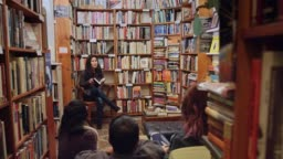 Panning Shot of Author Event in Bookstore