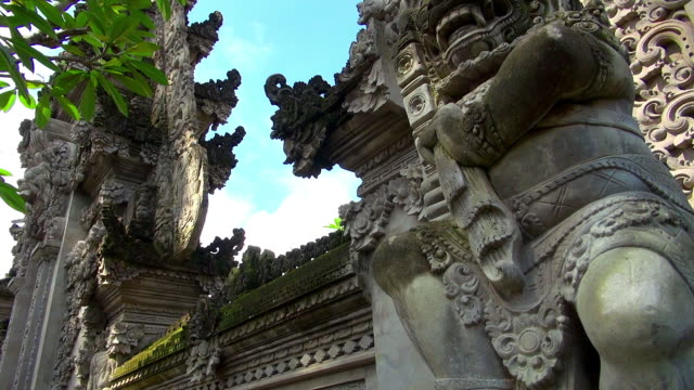 Panning Shot of Bali Indonesia Temple