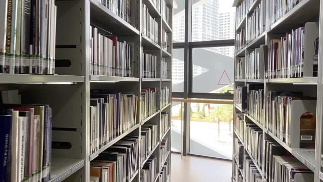 panning shot of bookshelf in a public library during the day - literature stock videos & royalty-free footage