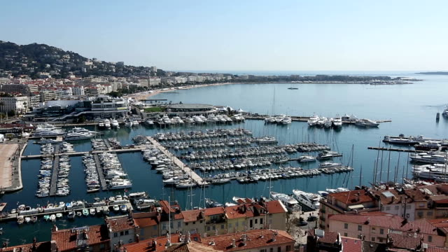 panning shot of cannes, france - cannes stock videos & royalty-free footage