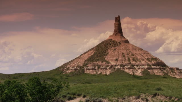 panning shot of chimney rock - nebraska stock videos and b-roll footage